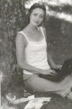 Pia Jønsson mens hun havde arbejdsplads hjemme, i 2002
